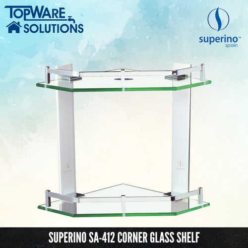SUPERINO SA-412 Glass Shelf Corner Double Layer, Bathroom Accessories, SUPERINO - Topware Solutions