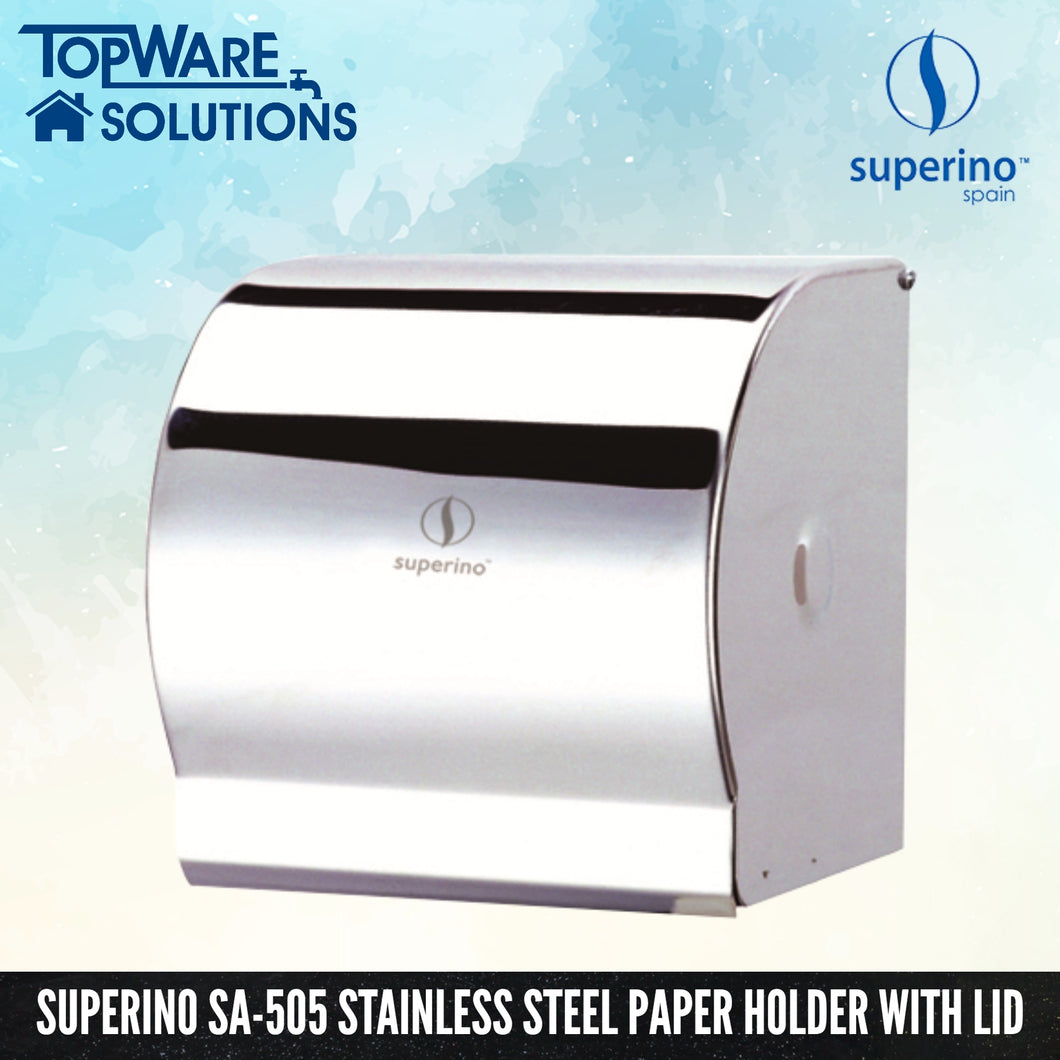SUPERINO SA-505 Stainless Steel Paper Holder With Lid, Bathroom Accessories, SUPERINO - Topware Solutions