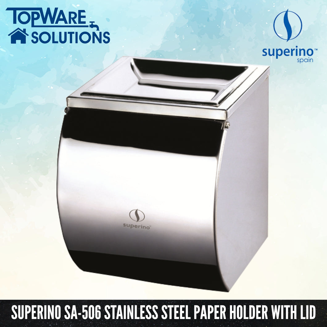 SUPERINO SA-506 Stainless Steel Paper Holder With Lid, Bathroom Accessories, SUPERINO - Topware Solutions