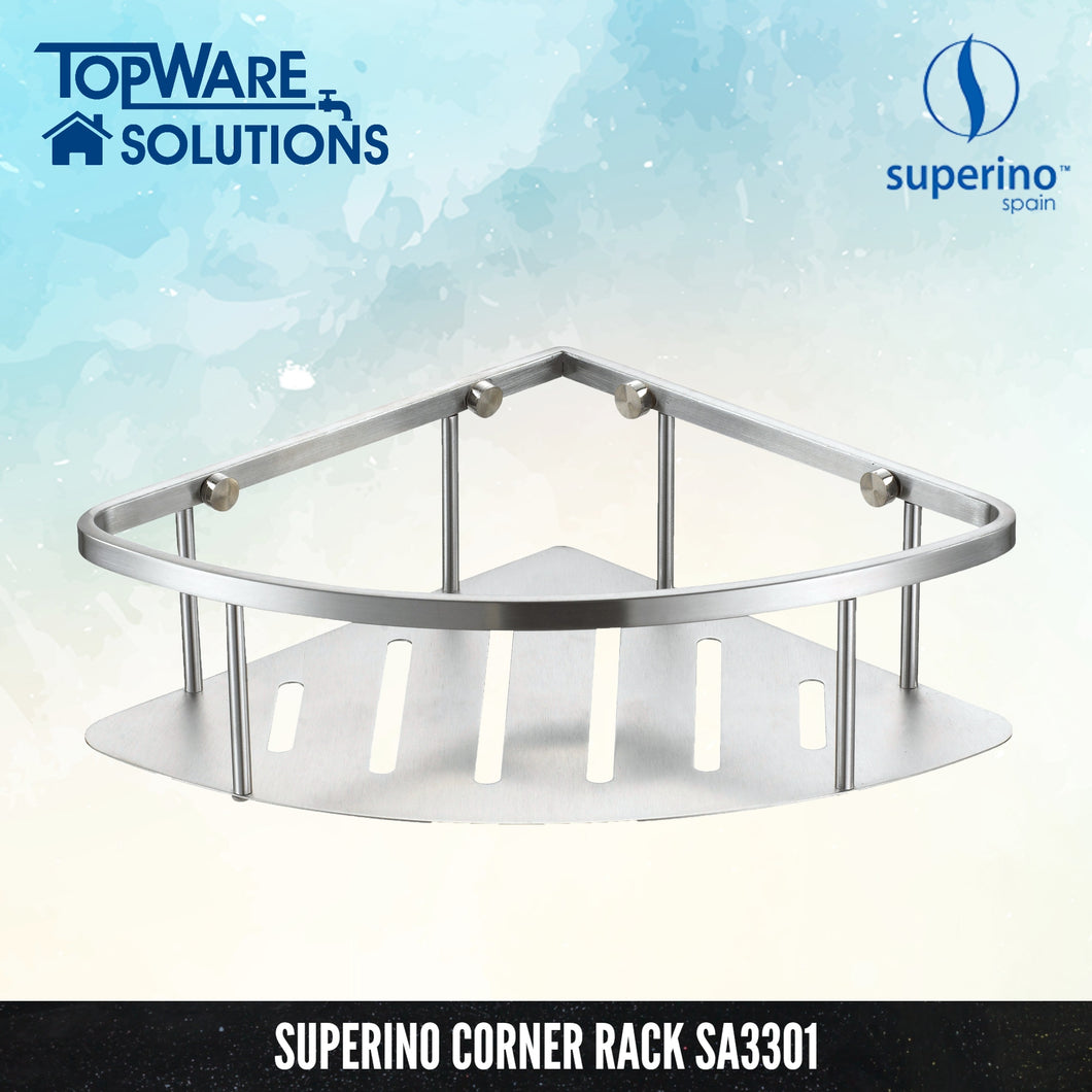 SUPERINO Corner Rack SA3301 [SUS304 Stainless Steel], Bathroom Accessories, SUPERINO - Topware Solutions
