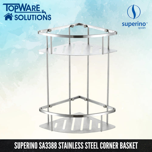 SUPERINO SA-3388 Corner Basket / Tack Double Layer 220mm, Bathroom Accessories, SUPERINO - Topware Solutions