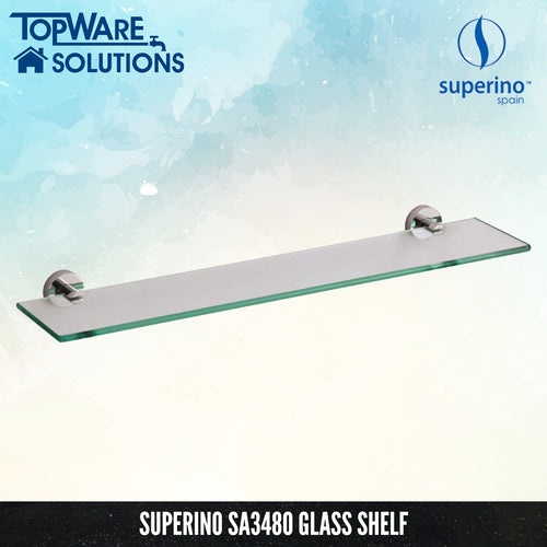 SUPERINO SA3480 Glass Shelf 600mm, Bathroom Accessories, SUPERINO - Topware Solutions