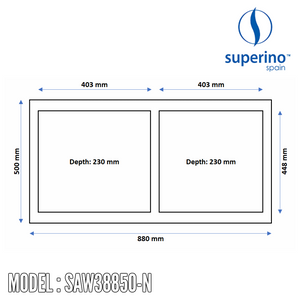 SUPERINO SUS304 Stainless Steel NANO Sink SAW38850-N Kitchen Sinks SUPERINO - Topware Solutions