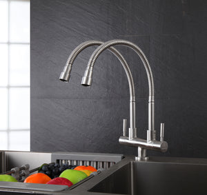SUPERINO Double Spout Pillar Sink Tap SR38177 Bathroom Faucets SUPERINO - Topware Solutions