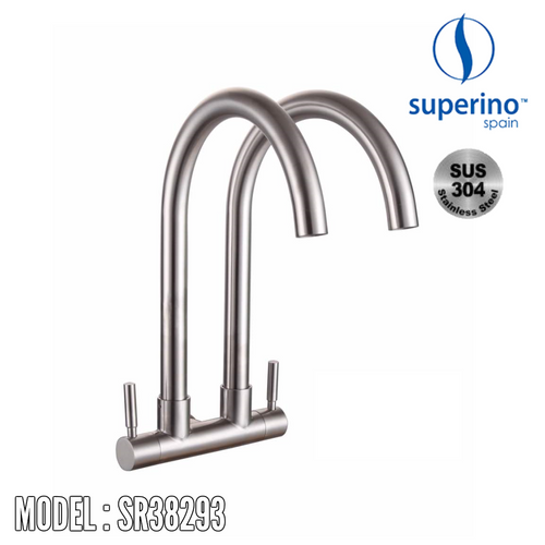 SUPERINO Double Spout Wall Sink Tap SR38293 Kitchen Faucets SUPERINO - Topware Solutions