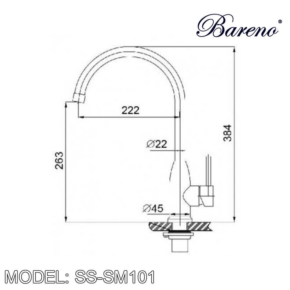 BARENO PLUS Pillar Sink Mixer SS-SM101, Kitchen Faucets, BARENO PLUS - Topware Solutions