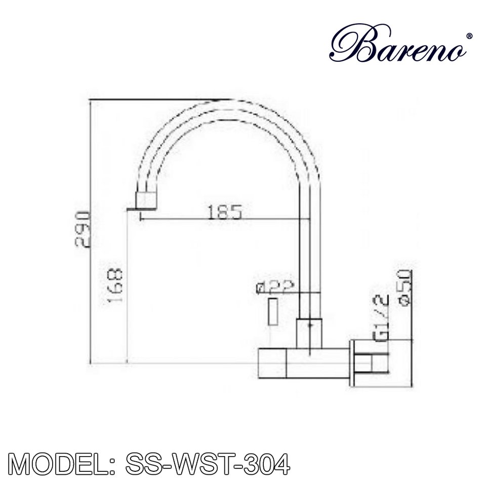 BARENO PLUS Wall Sink Tap SS-WST-304 Kitchen Faucets BARENO PLUS - Topware Solutions