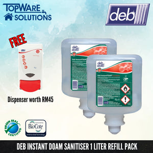[PROMOTION] DEB Hand Sanitizer Foam Refill Pack 1L with Free Dispenser, Hygiene Solution, DEB - Topware Solutions