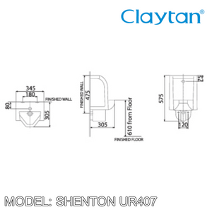 CLAYTAN Shenton Wall Hung Urinal UR407, Bathroom Urinals, CLAYTAN - Topware Solutions