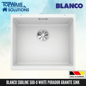 BLANCO Subline 500-U Silgranit™ PuraDur™ Granite Sink With InFino™ Waste, Kitchen Sinks, BLANCO - Topware Solutions