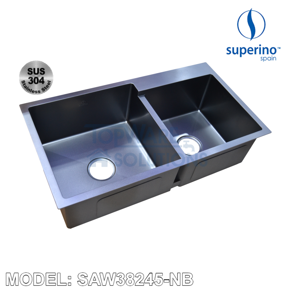 SUPERINO SUS304 Stainless Steel NANO BLACK Sink SAW38245-NB Kitchen Sinks SUPERINO - Topware Solutions