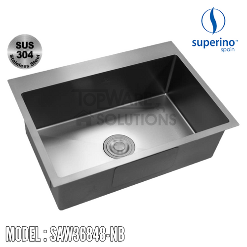 SUPERINO SUS304 Stainless Steel NANO BLACK Sink SAW36848-NB Kitchen Sinks SUPERINO - Topware Solutions