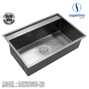 SUPERINO SUS304 Stainless Steel NANO BLACK Sink SAW37650-NB Kitchen Sinks SUPERINO - Topware Solutions