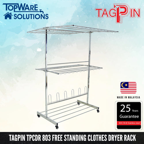 TAGPIN TPCDR 803 Free Standing Clothes Hanger 900mm, Bathroom Accessories, Tagpin - Topware Solutions