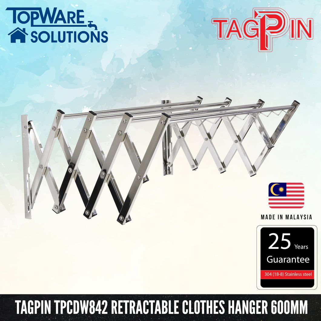 TAGPIN TPCDW 842 Wall Mounted Retractable Clothes Hanger 600mm, Bathroom Accessories, Tagpin - Topware Solutions