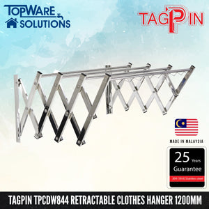TAGPIN TPCDW 844 Wall Mounted Retractable Clothes Hanger 1200mm, Bathroom Accessories, Tagpin - Topware Solutions