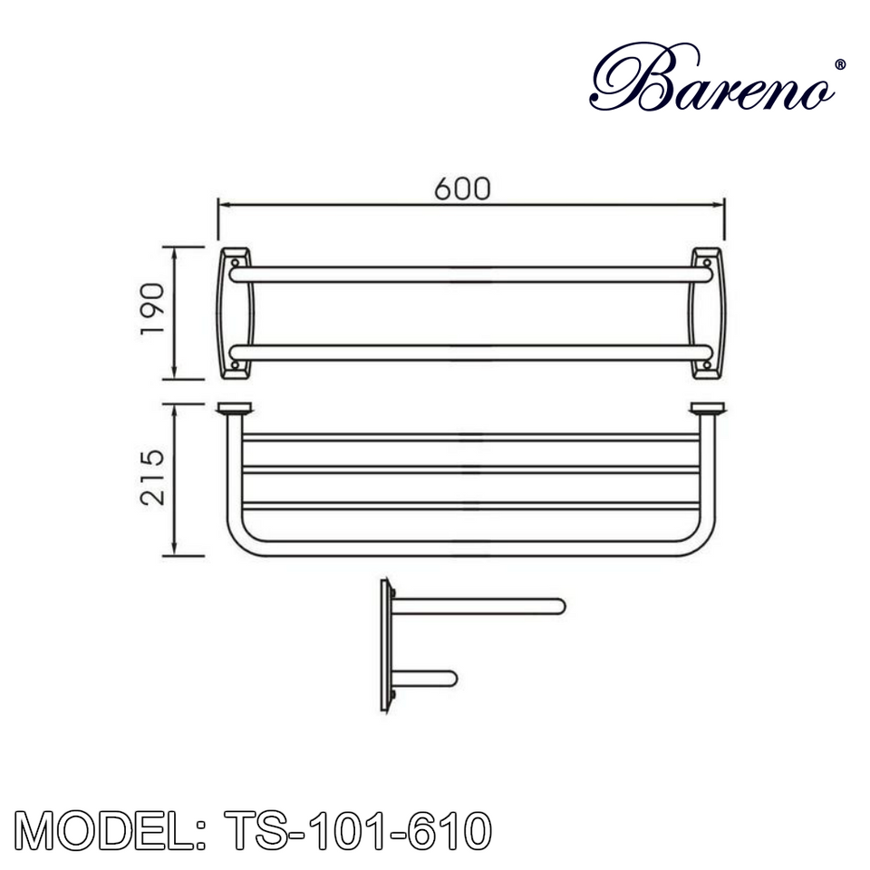 BARENO PLUS Towel Bar TS-101-610, Bathroom Accessories, BARENO PLUS - Topware Solutions