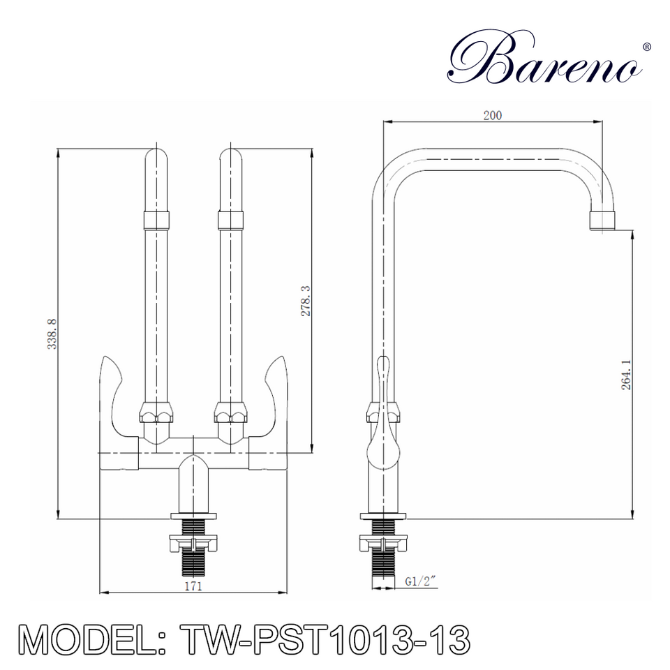 BARENO PLUS Double Spout Pillar Sink Tap TW-PST1013-13, Kitchen Faucets, BARENO PLUS - Topware Solutions