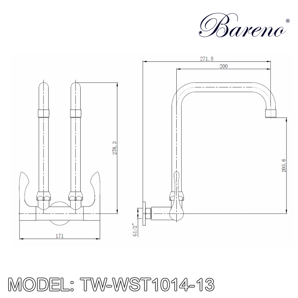 BARENO PLUS Wall Sink Tap TW-WST1014-13, Kitchen Faucets, BARENO PLUS - Topware Solutions