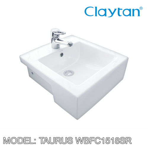 CLAYTAN Taurus Jr. Semi Recess Basin WBFC1518SR, Bathroom Basins, CLAYTAN - Topware Solutions