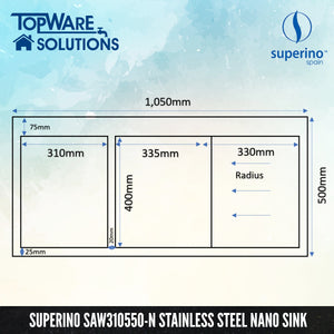 SUPERINO SUS304 Stainless Steel NANO Sink SAW310550-N, Kitchen Sinks, SUPERINO - Topware Solutions