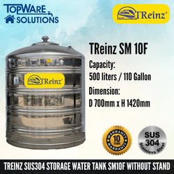 TREINZ Stainless Steel SUS304 Storage Water Tank (Without Stand/Flat Bottom), Water Tank, TREINZ - Topware Solutions