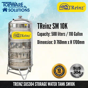 TREINZ Stainless Steel SUS304 Storage Water Tank (With Stand/Round Bottom), Water Tank, TREINZ - Topware Solutions