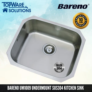 BARENO Kitchen Sink UM1009 Undermount SUS304 with 10 Year Warranty, Kitchen Sinks, BARENO - Topware Solutions