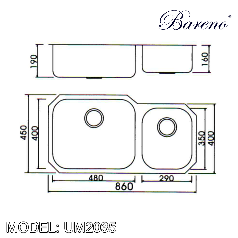 BARENO Kitchen Sink UM2035  Undermount SUS304 with 10 Year Warranty, Kitchen Sinks, BARENO - Topware Solutions