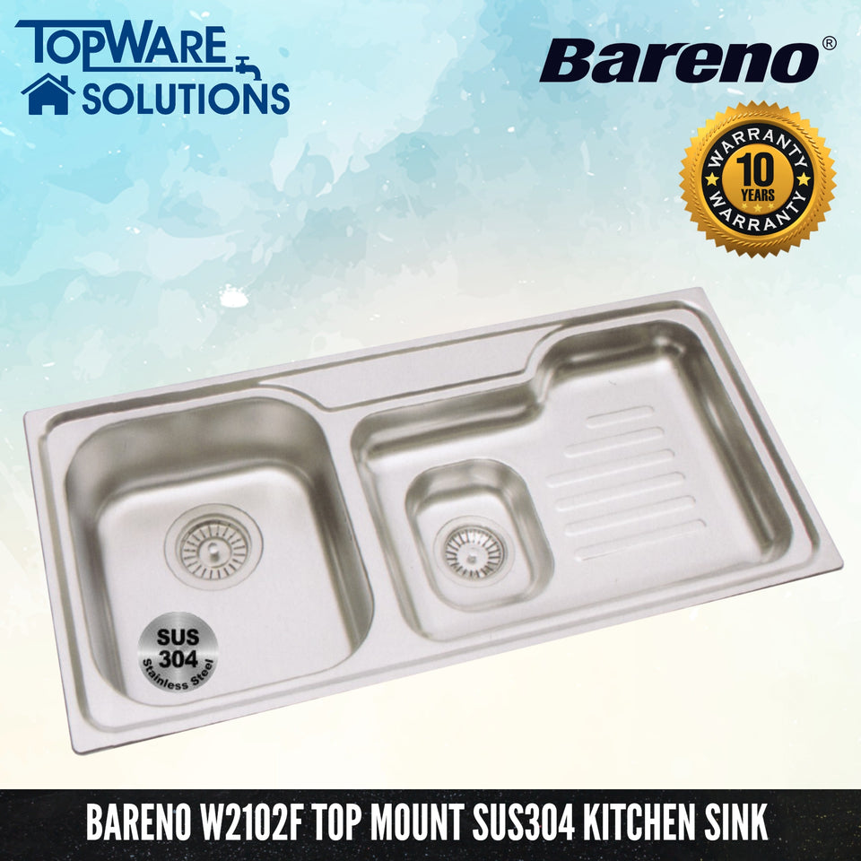 BARENO Kitchen Sink 2102F Top Mount SUS304 with 10 Year Warranty, Kitchen Sinks, BARENO - Topware Solutions