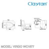 CLAYTAN Virgo One Piece Pan WC1677, Bathroom W.Cs, CLAYTAN - Topware Solutions