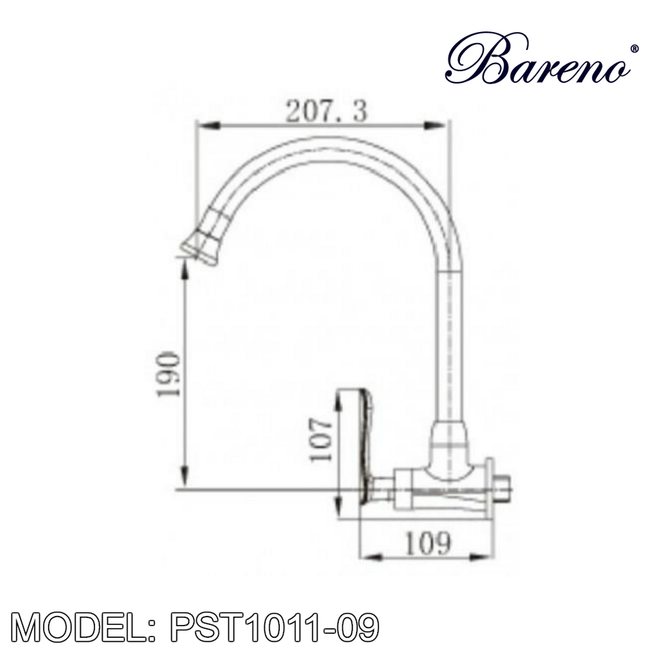 BARENO PLUS Wall Sink Tap WST1011-09, Kitchen Faucets, BARENO PLUS - Topware Solutions