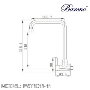 BARENO PLUS Wall Sink Tap WST1011-11, Kitchen Faucets, BARENO PLUS - Topware Solutions