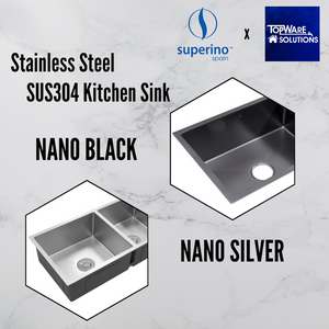 SUPERINO Stainless Steel NANO BLACK Sink SAW6446-NB, Kitchen Sinks, SUPERINO - Topware Solutions
