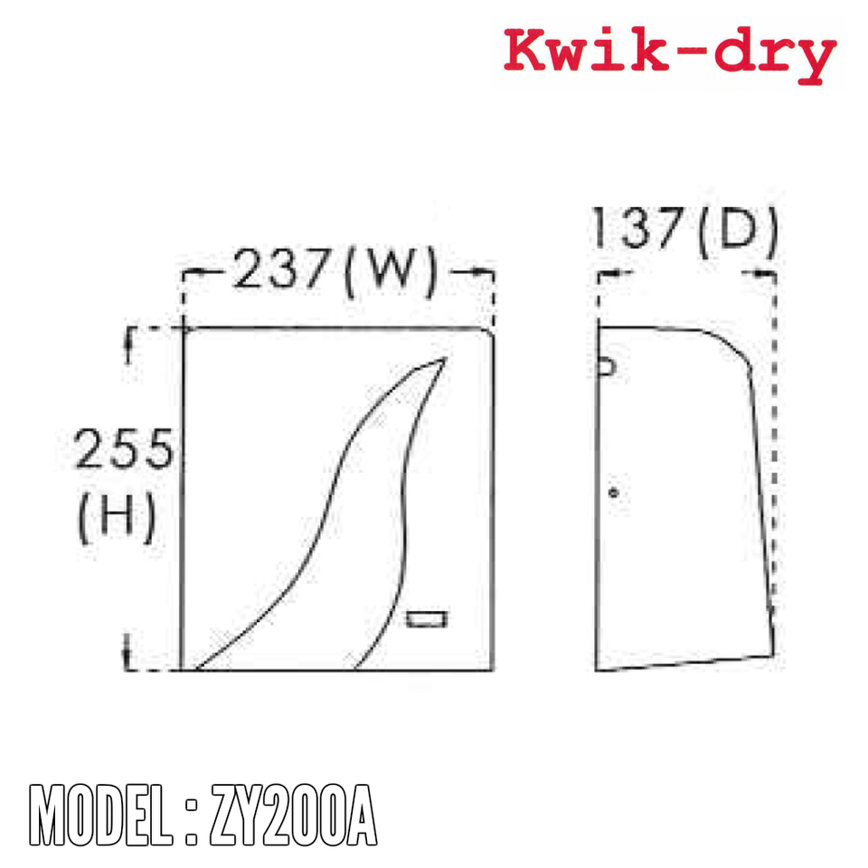Kwik Dry Hand Dryer ZY200A, Hand Dryers, KWIK-DRY - Topware Solutions