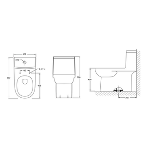 JOHNSON SUISSE Ancona One Piece WBSC950075WW, Bathroom W.Cs, JOHNSON SUISSE - Topware Solutions