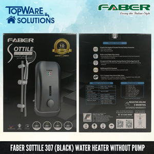 FABER Instant Water Heater FWH Sottile 307 (BK) without pump, Water Heater, FABER - Topware Solutions