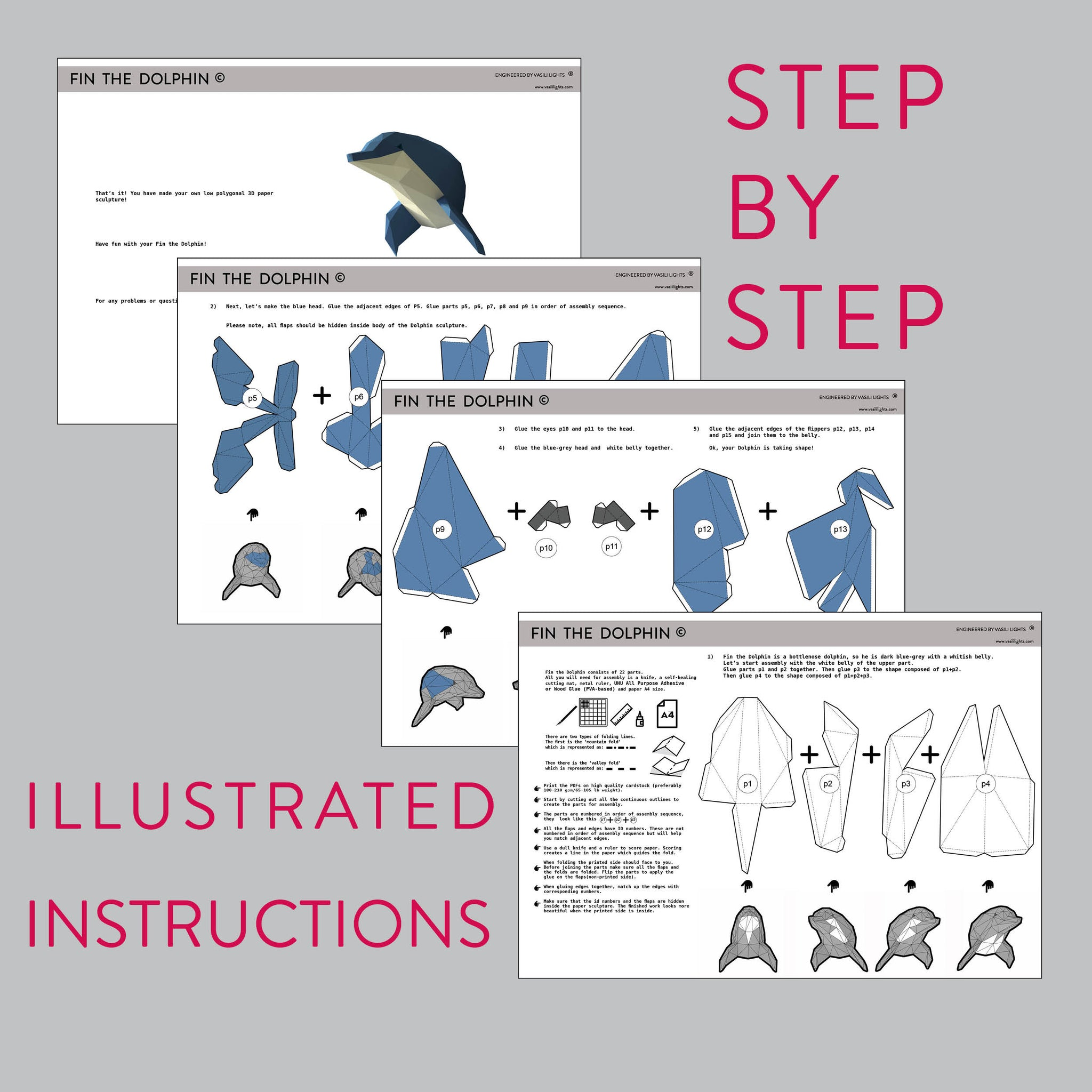 Assembly instruction for papercraft Dolphin.