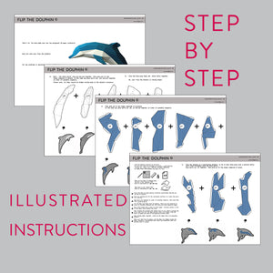 Assembly instruction for DIY papercraft Dolphin.