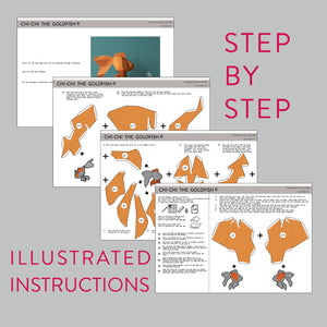Assembly instruction for DIY papercraft Goldfish.