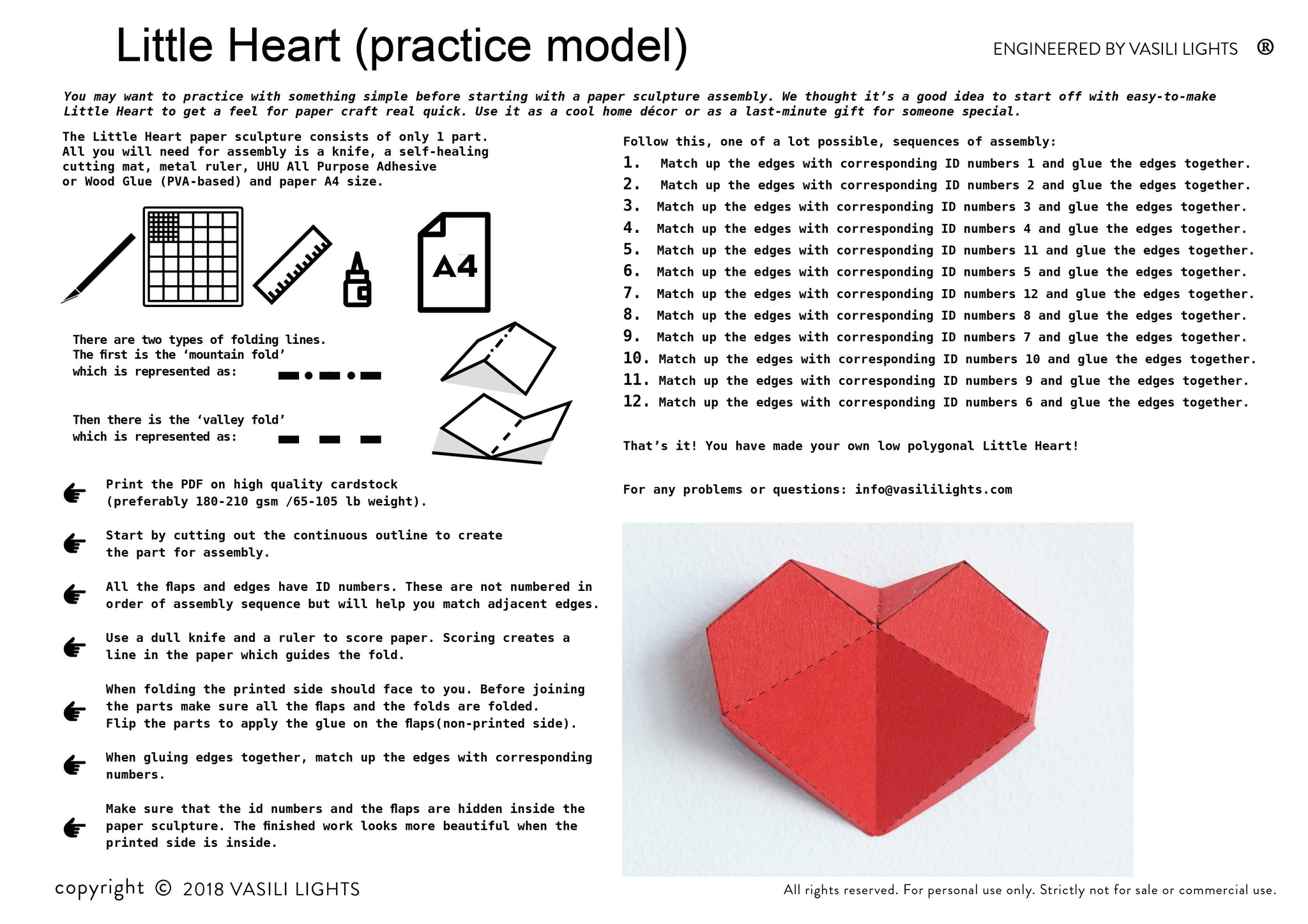 Assembly Instruction for the papercraft Heart.
