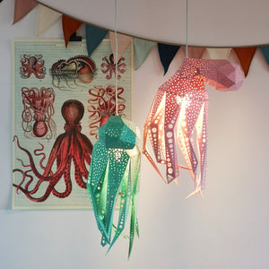 DIY Octopus paper lamps, mint and pink colors - Vasili Lights