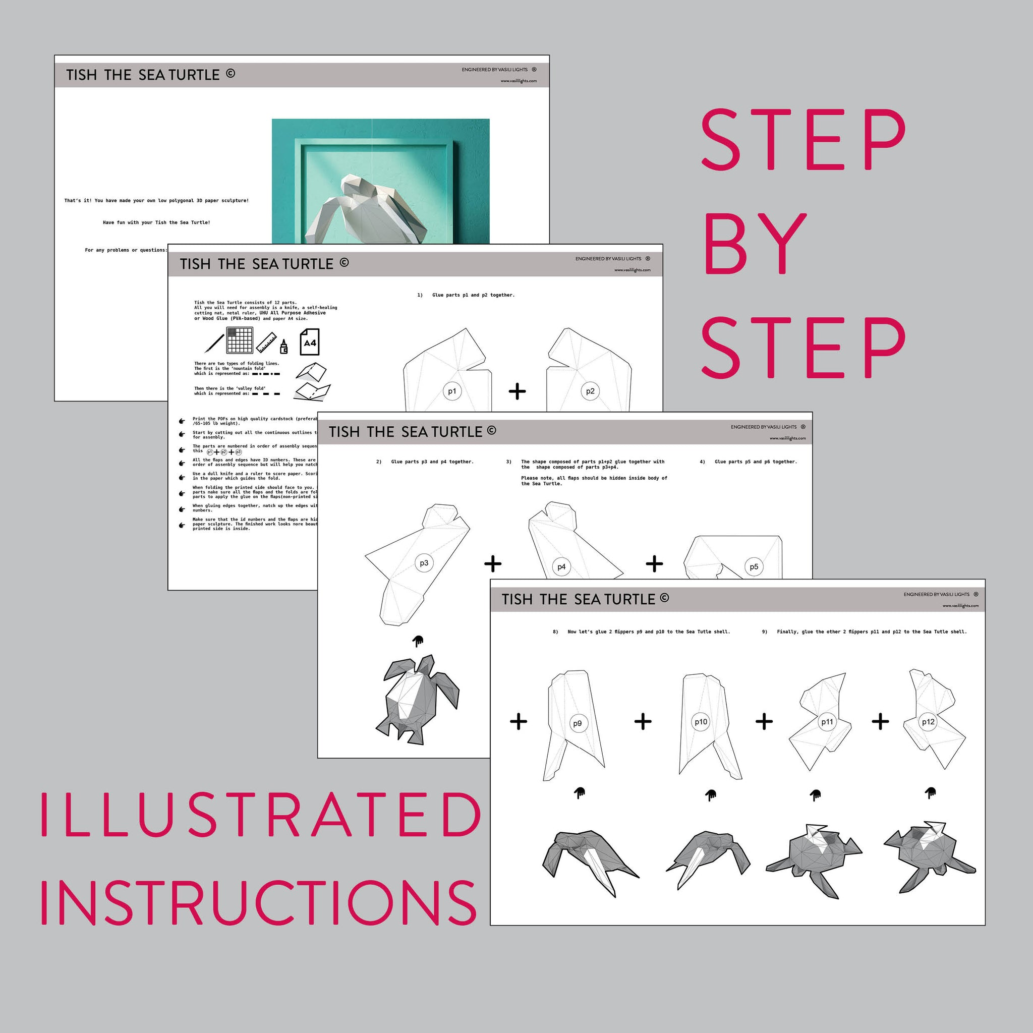 Assembly instruction for DIY papercraft Sea Turtle.