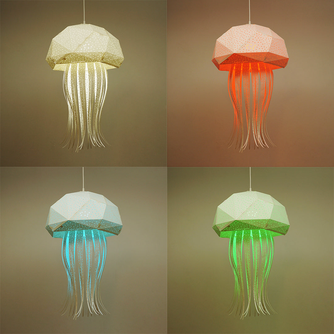 Medusa lamp in the form of jellyfish has white, pink, blue and green colors.