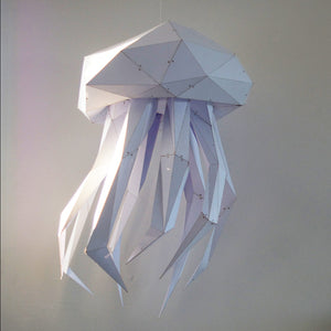 Home decoration in the form of hanging papercraft white Jellyfish.