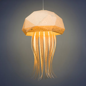 Lighted lamp in the form of jellyfish on dark background.