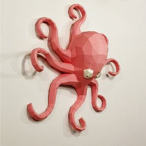 Wall decoration in the form of Octopus paper sculpture.