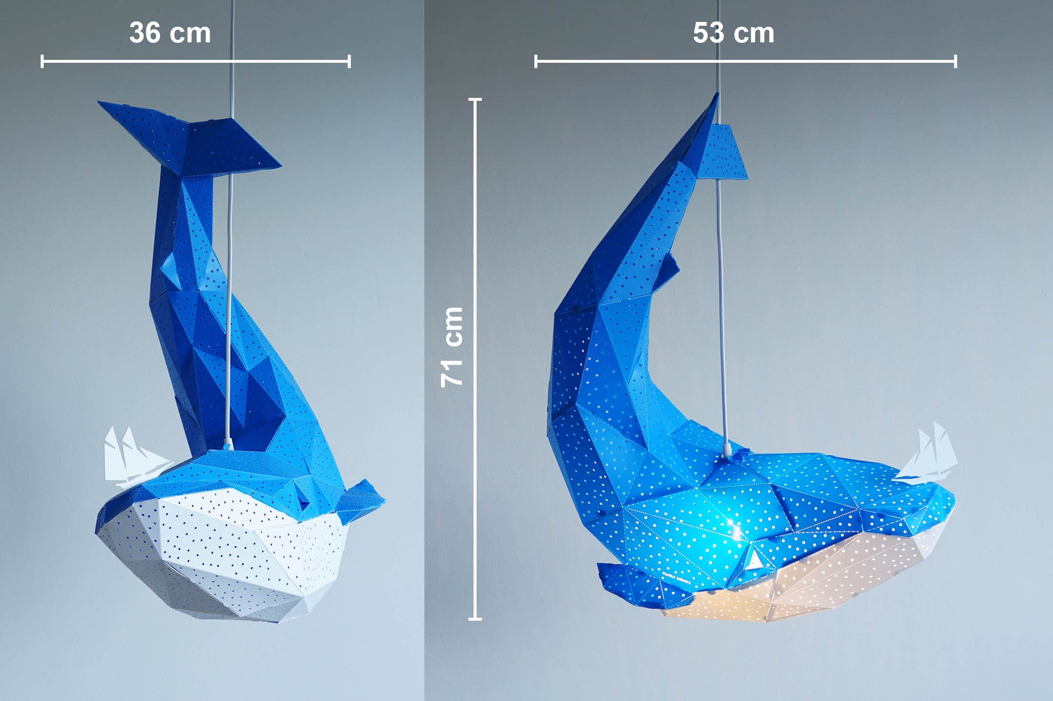 Dimensions of the blue pendant lamp in the form of a whale that holds a little boat on his nose.