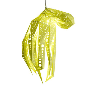 DIY yellow papercraft Octopus lantern on white background.