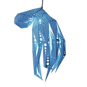 DIY blue paper Octopus lantern on white background.